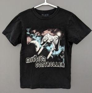 Mission controller black short sleeved t-shirt